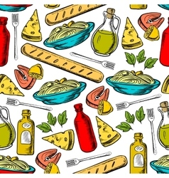 Italian cuisine lunch seamless pattern vector image vector image
