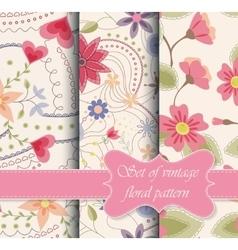set of seamless patterns vintage floral vector image vector image