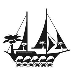 black and white sea travel concept with ship vector image vector image