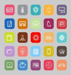 Businessman item line flat icons vector image