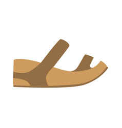 comfortable leather sandal isolated footwear flat vector image