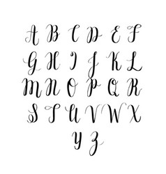 digitally drawn calligraphy alphabet vector image
