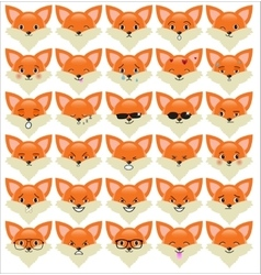 Set of funny fox emoticons vector image