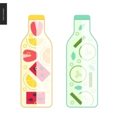 Two bottles of detox water vector image