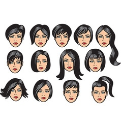 Woman hair collection vector image vector image