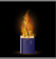 burning blue book with fire flame vector image vector image