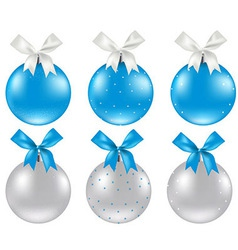 Christmas silver and blue ball vector