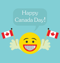 happy canada day smiley face icon with big smile vector image vector image