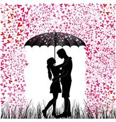 Kissing couple heart rain vector image vector image