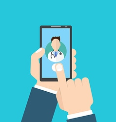 Online Doctor Man holding smartphone vector image vector image