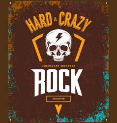 vintage hard and crazy rock t-shirt logo vector image