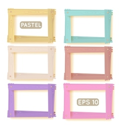 Wooden picture frames pastel set vector image