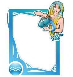zodiac frame series aquarius vector image