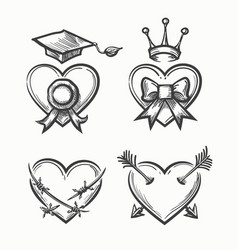 hand drawn hearts in tattoo sketch style heart vector image vector image