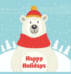 holiday card with polar bear vector image vector image