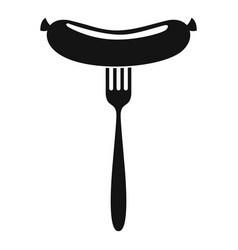sausage on fork icon simple style vector image