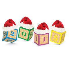 2015 made from toy blocks with christmas hats vector image