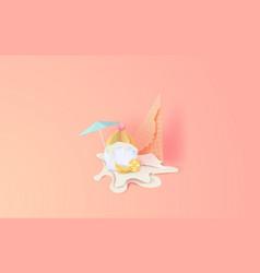 3d paper art of cute cone white vanilla cup cake vector image