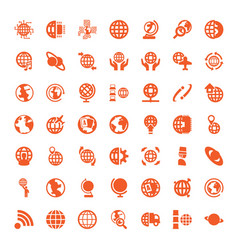 49 globe icons vector image