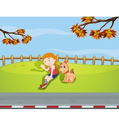 A girl with a dog inside the fence vector image vector image