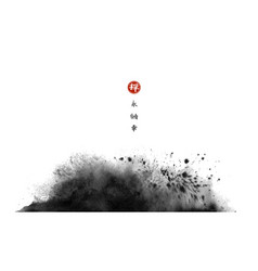 Abstract black ink wash painting in traditional vector