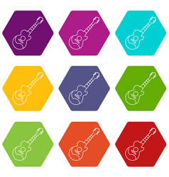 acoustic guitar icons set 9 vector image