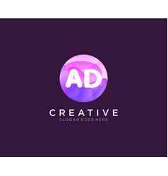 Ad initial logo with colorful circle template vector