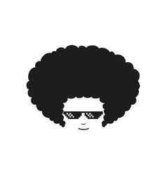 afro thug life pixel glasses flat vector image