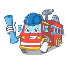 architect fire truck character cartoon vector image