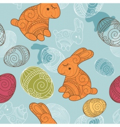 background with rabbit and eggs vector image