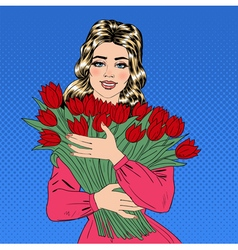 Beautiful Woman with Bouquet of Red Tulips vector image
