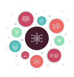 Big data infographic 10 steps bubble design vector