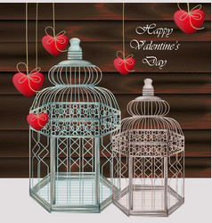 bird cages realistic happy valentine day vector image