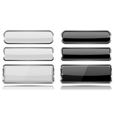 black and white glass buttons with metal frame vector image
