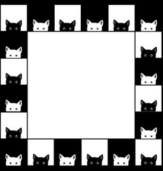 Black white cat chess board border background vector