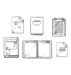 Book notebook notepad and diary sketches vector