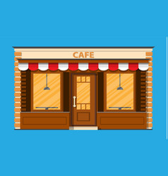 Cafe shop exterior street restraunt building vector