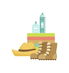 Camping Equipment Set With Boots And Water Bottles vector