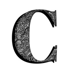 Capital letter c hand drawn letter english vector