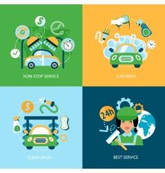 Car wash flat icons vector image
