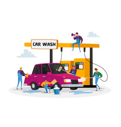 Car wash service concept workers characters vector