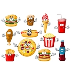 Cartoon fast food desserts and drinks vector