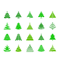 Christmas tree color silhouette icons set vector