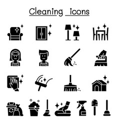 Cleaning hygiene icon set vector