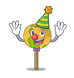 Clown candy apple mascot cartoon vector