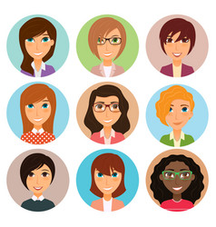 Collection avatars various young women vector