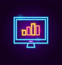 Computer statistics neon sign vector