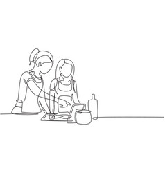 Continuous one line drawing happy mother vector