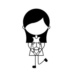 Cute girl with bear character icon vector