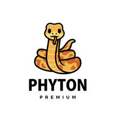 Cute phyton cartoon logo icon vector
